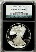 Modern Bullion Coins: , 1995-P $1 Silver Eagle PR70 Ultra Cameo NGC. 25th AnniversaryHolder. NGC Census: (841). PCGS Population (541). Numismedia...