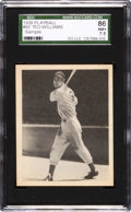 "Baseball Cards:Singles (1930-1939), Very Rare 1939 Ted Williams Play Ball #92 ""Free Sample Card"" Back SGC 86 NM+ 7.5 - The Highest Graded Example. ..."