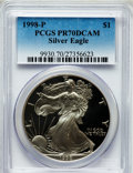 Modern Bullion Coins: , 1998-P $1 Silver Eagle PR70 Deep Cameo PCGS. PCGS Population(1004). NGC Census: (1038). Numismedia Wsl. Price for problem...