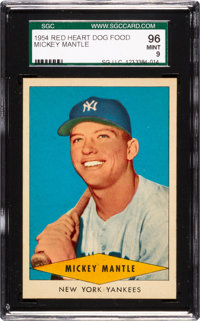 1954 Red Heart Mickey Mantle SGC 96 Mint 9 - None Higher!