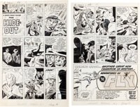 "Jack Kirby and Joe Simon The Double Life of Private Strong #1 Complete 2-Page Story ""The Hideout"" Original Art..."