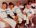 Baseball Collectibles:Photos, Circa 1980 Mickey Mantle, Billy Martin Joe DiMaggio & WhiteyFord Signed Large Photograph. ...