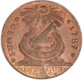 Colonials, 1787 1C Fugio Cent, STATES UNITED, 4 Cinquefoils, Pointed Rays MS65Red and Brown PCGS. Newman 8-X, W-6750, R.3....