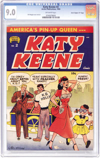 """Katy Keene #2 Davis Crippen (""""D"""" Copy) pedigree (Archie, 1950) CGC VF/NM 9.0 Off-white pages. A VF/NM Katy Kee..."""