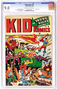 Kid Komics #6 (Timely, 1944) CGC VF/NM 9.0 Cream to off-white pages. Bucky hand-delivers a bomb to the Japanese while To...