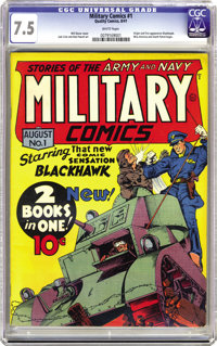 Military Comics #1 (Quality, 1941) CGC VF- 7.5 White pages. Only two copies of this key book have been graded higher by...