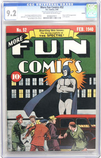 More Fun Comics #52 Larson pedigree (DC, 1940) CGC NM- 9.2 Off-white to white pages. This comic is so sought-after that...