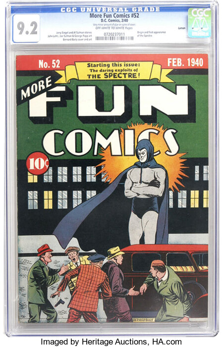 More Fun Comics #52 Larson pedigree (DC, 1940) CGC NM- 9.2 Off-white to white pages. This comic is so sought-after that any ...
