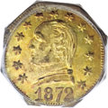 California Fractional Gold, 1872 25C Washington Octagonal 25 Cents, BG-723, Low R.6, MS60PCGS....