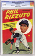 "Golden Age (1938-1955):Non-Fiction, Phil Rizzuto Baseball Hero #nn Davis Crippen (""D"" Copy) pedigree(Fawcett, 1951) CGC VF 8.0 Off-white pages. Dazzling color ..."