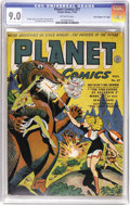 "Golden Age (1938-1955):Science Fiction, Planet Comics #27 Davis Crippen (""D"" Copy) pedigree (Fiction House,1943) CGC VF/NM 9.0 Off-white pages. The groundbreaking ..."