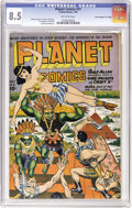 "Golden Age (1938-1955):Science Fiction, Planet Comics #31 Davis Crippen (""D"" Copy) pedigree (Fiction House,1944) CGC VF+ 8.5 Off-white pages. The bondage cover is ..."