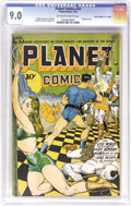 "Golden Age (1938-1955):Science Fiction, Planet Comics #34 Davis Crippen (""D"" Copy) pedigree (Fiction House,1945) CGC VF/NM 9.0 Off-white to white pages. There's no..."
