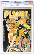 """Golden Age (1938-1955):Science Fiction, Planet Comics #35 Davis Crippen (""""D"""" Copy) pedigree (Fiction House,1945) CGC VF- 7.5 White pages. Lily Renee was adept at d..."""