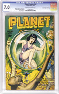 "Golden Age (1938-1955):Science Fiction, Planet Comics #44 Davis Crippen (""D"" Copy) pedigree (Fiction House,1946) CGC FN/VF 7.0 Cream to off-white pages. Interplane..."
