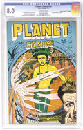 "Golden Age (1938-1955):Science Fiction, Planet Comics #49 Davis Crippen (""D"" Copy) pedigree (Fiction House,1947) CGC VF 8.0 Off-white pages. As exciting as the cov..."