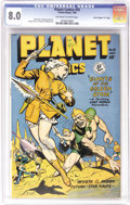 "Golden Age (1938-1955):Science Fiction, Planet Comics #55 Davis Crippen (""D"" Copy) pedigree (Fiction House,1948) CGC VF 8.0 Off-white to white pages. Matt Baker co..."