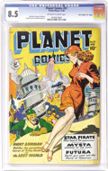 "Golden Age (1938-1955):Science Fiction, Planet Comics #57 Davis Crippen (""D"" Copy) pedigree (Fiction House,1948) CGC VF+ 8.5 Off-white to white pages. We've seen p..."