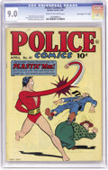 "Golden Age (1938-1955):Science Fiction, Police Comics #41 Davis Crippen (""D"" Copy) pedigree (Quality, 1945)CGC VF/NM 9.0 Cream to off-white pages. This issue featu..."