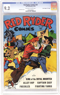 """Red Ryder Comics #25 Davis Crippen (""""D"""" Copy) pedigree (Dell, 1945) CGC NM- 9.2 Off-white to white pages. We'v..."""