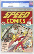 """Golden Age (1938-1955):Superhero, Speed Comics #1 Windy City pedigree (Brookwood, 1939) CGC VF+ 8.5 Off-white to white pages. Shock Gibson, """"the Human Dynamo,..."""