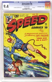 """Speed Comics #44 Davis Crippen (""""D"""" Copy) pedigree (Harvey, 1947) CGC NM 9.4 Off-white pages. This was the las..."""