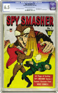 Golden Age (1938-1955):Adventure, Spy Smasher #1 (Fawcett, 1941) CGC FN+ 6.5 Cream to off-white pages. The unusual silver metallic cover sets this book apart,...
