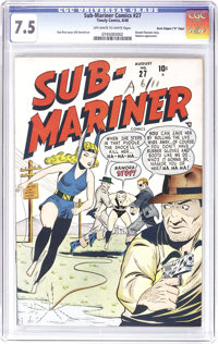 """Sub-Mariner Comics #27 Davis Crippen (""""D"""" Copy) pedigree (Timely, 1948) CGC VF- 7.5 Off-white to white pages..."""