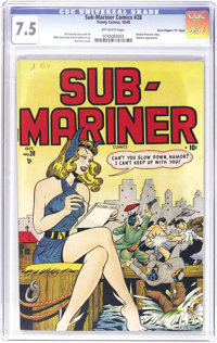 "Sub-Mariner Comics #28 Davis Crippen (""D"" Copy) pedigree (Timely, 1948) CGC VF- 7.5 Off-white pages. This stra..."