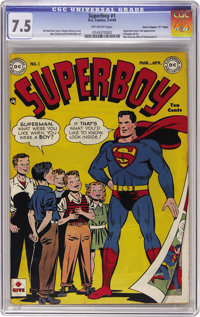 """Superboy #1 Davis Crippen (""""D"""" Copy) pedigree (DC, 1949) CGC VF- 7.5 Off-white pages. It was only natural that..."""