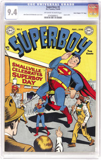 """Superboy #2 Davis Crippen (""""D"""" Copy) pedigree (DC, 1949) CGC NM 9.4 Off-white to white pages. The immaculate f..."""