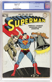 Superman #26 (DC, 1944) CGC FN/VF 7.0 Off-white pages. Superman lets freedom ring out on this classic World War II Nazi...