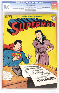 "Superman #27 Davis Crippen (""D"" Copy) pedigree (DC, 1944) CGC VF 8.0 Cream to off-white pages. As you may have..."