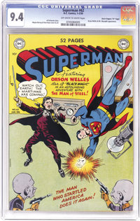 "Superman #62 Davis Crippen (""D"" Copy) pedigree (DC, 1950) CGC NM 9.4 Off-white to white pages. Orson Welles he..."