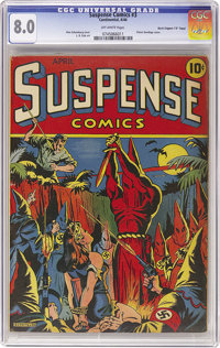 "Suspense Comics #3 Davis Crippen ('D"" Copy) pedigree (Continental Magazines, 1944) CGC VF 8.0 Off-white pages. The..."