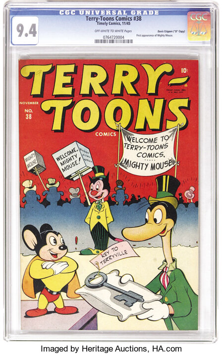 """Terry-Toons Comics #38 Davis Crippen (""""D"""" Copy) pedigree (Timely, 1945) CGC NM 9.4 Off-white to white pages. The first comic..."""