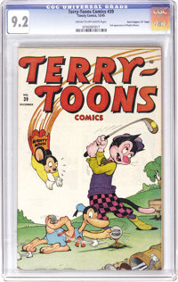"Terry-Toons Comics #39 Davis Crippen (""D"" Copy) pedigree (Timely, 1945) CGC NM- 9.2 Cream to off-white pages..."