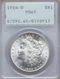 Morgan Dollars: , 1904-O $1 MS65 PCGS. PCGS Population (10502/849). NGC Census:(15742/1470). Mintage: 3,720,000. Numismedia Wsl. Price for p...