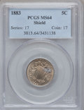 Shield Nickels: , 1883 5C MS64 PCGS. PCGS Population (495/326). NGC Census:(420/370). Mintage: 1,456,919. Numismedia Wsl. Price for problem...