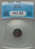Seated Half Dimes: , 1869 H10C AU58 ANACS. NGC Census: (7/82). PCGS Population (6/83).Mintage: 208,000. Numismedia Wsl. Price for problem free ...
