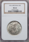 Commemorative Silver: , 1936 50C Arkansas MS64 NGC. NGC Census: (434/325). PCGS Population(549/394). Mintage: 9,660. Numismedia Wsl. Price for pro...