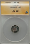 Bust Half Dimes: , 1835 H10C Small Date, Large 5C AU53 ANACS. NGC Census: (0/0). PCGSPopulation (5/31). ...