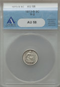 Seated Half Dimes: , 1873-S H10C AU58 ANACS. V-2. NGC Census: (23/228). PCGS Population(32/225). Mintage: 324,000. Numismedia Wsl. Price for p...