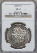 """Morgan Dollars, (2)1878-S $1 MS63 NGC. The current Coin Dealer Newsletter(Greysheet) wholesale """"bid"""" price... (Total: 2 coins)"""