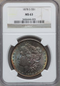 """Morgan Dollars, (3)1878-S $1 MS63 NGC. The current Coin Dealer Newsletter(Greysheet) wholesale """"bid"""" price... (Total: 3 coins)"""
