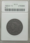 Large Cents: , 1823/2 1C VG8 ANACS. N-1. NGC Census: (8/51). PCGS Population(12/88). Mintage: 1,262,000. Numismedia Wsl. Price for probl...