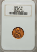 Lincoln Cents: , 1937-S 1C MS67 Red NGC. NGC Census: (374/0). PCGS Population(155/0). Mintage: 34,500,000. Numismedia Wsl. Price for proble...