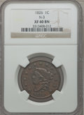 Large Cents: , 1826 1C XF40 NGC. N-3. NGC Census: (7/169). PCGS Population(11/116). Mintage: 1,517,425. Numismedia Wsl. Price for proble...