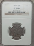 Half Cents, 1809 1/2 C XF40 Brown NGC. NGC Census: (15/232). PCGS Population(25/171). Mintage: 1,154,572. Numismedia Wsl. Price for pr...