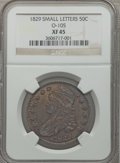 Bust Half Dollars: , 1829 50C Small Letters XF45 NGC. O-105. NGC Census: (148/814). PCGSPopulation (231/835). Mintage: 3,712,156. Numismedia W...